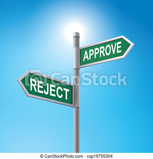3d road sign saying reject and approve - csp19755304