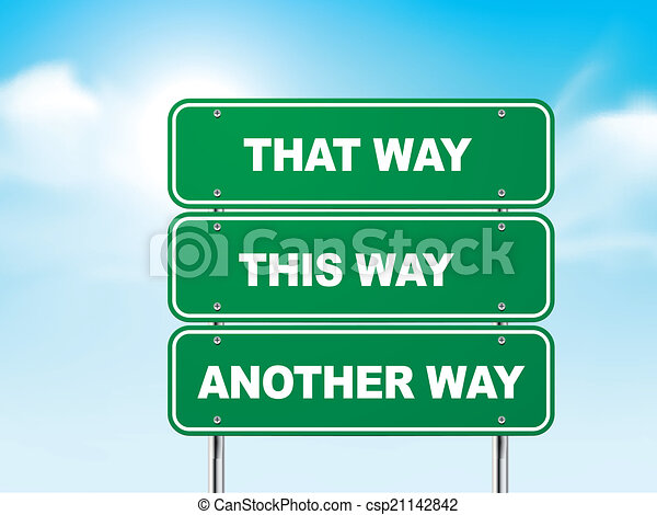 3d road sign with different directions  - csp21142842