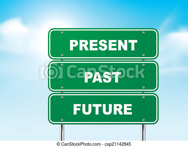 3d road sign with present, past and future - csp21142845