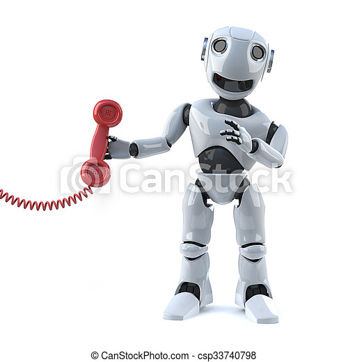 3d Robot answers the phone - csp33740798