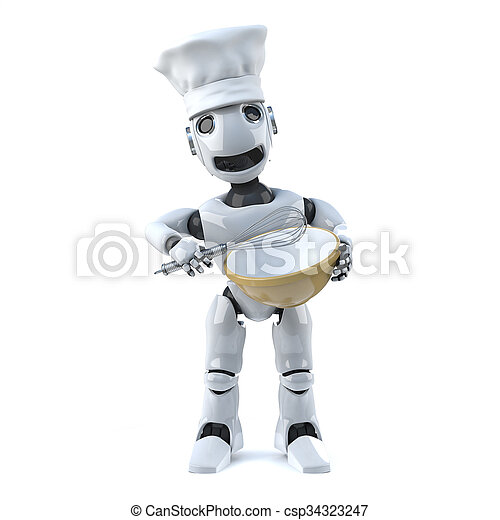 3d Robot chef with whisk and mixing bowl - csp34323247