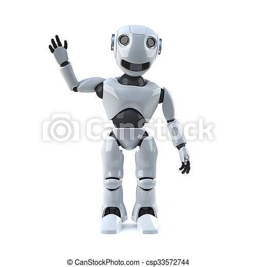 3d Robot is waving at you - csp33572744