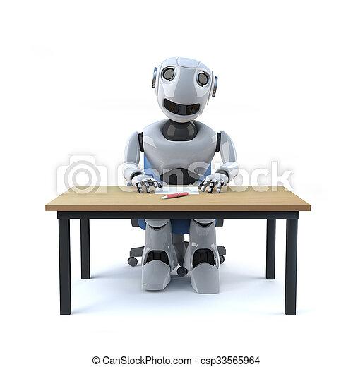 3d Robot worker sits at desk - csp33565964