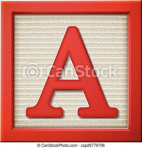 Bloque A de letras rojas 3D - csp26779706