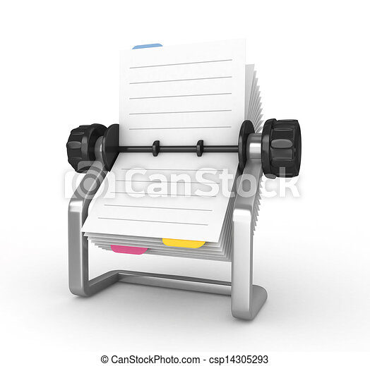 3D Rolodex on a white background - csp14305293