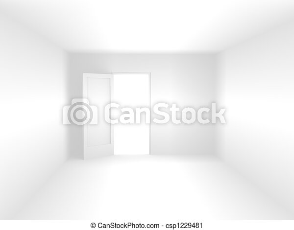 3d room of white color - csp1229481