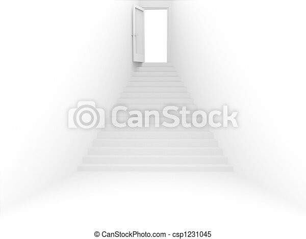 3d room with door and ladder of white color - csp1231045