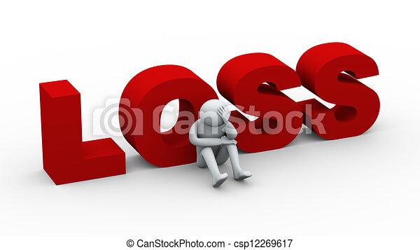 3d sad man and word loss - csp12269617