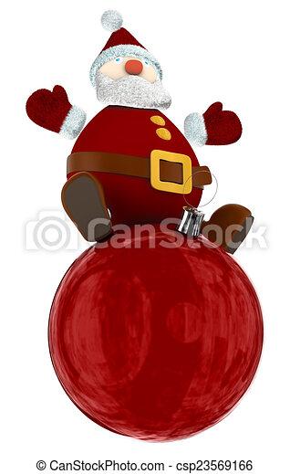 3D Santa Claus on a globe - csp23569166