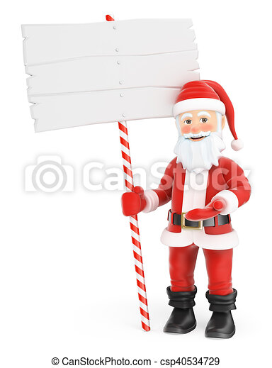 3d santa claus with a blank sign 3d christmas people illustration