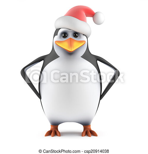 3d Santa penguin with hands on hips - csp20914038