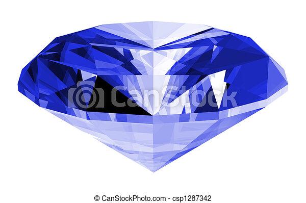 3d Sapphire Gem Isolated - csp1287342