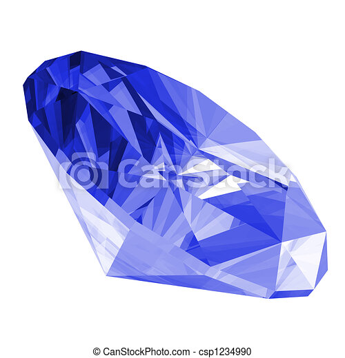 3d Sapphire Gem Isolated - csp1234990