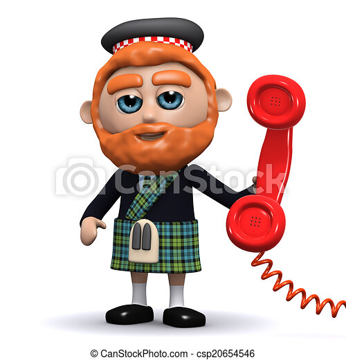 3d Scotsman answers the phone - csp20654546