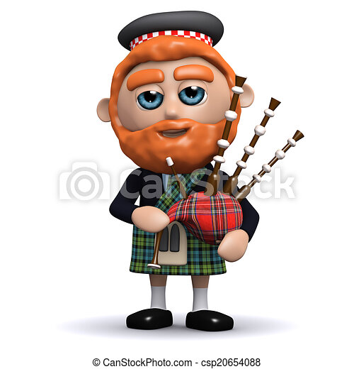 3d Scotsman plays bagpipes - csp20654088