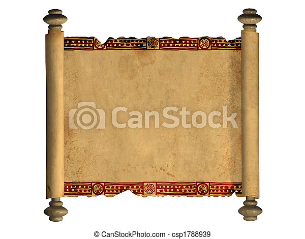 3d scroll of old parchment scroll of old parchment object over white