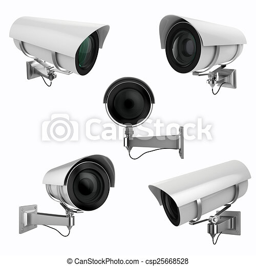 3d security camera on white background - csp25668528