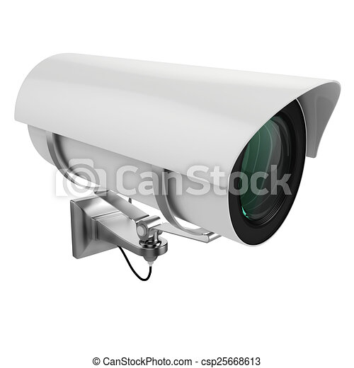 3d security camera on white background - csp25668613