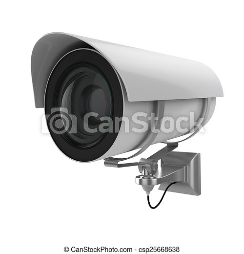 3d security camera on white background - csp25668638