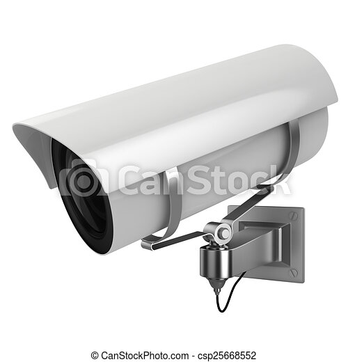3d security camera on white background - csp25668552
