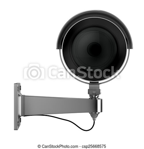 3d security camera on white background - csp25668575
