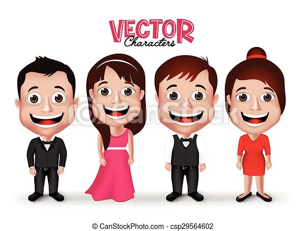 3D Set Groom and Party Characters  - csp29564602