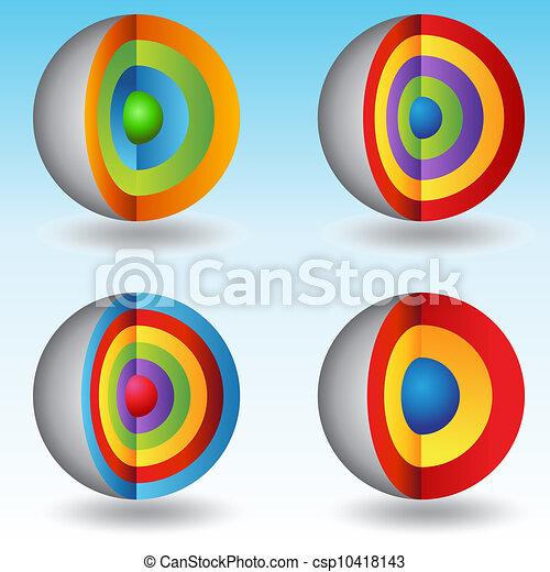 3d, sfera, a più livelli, tabelle, centro - csp10418143