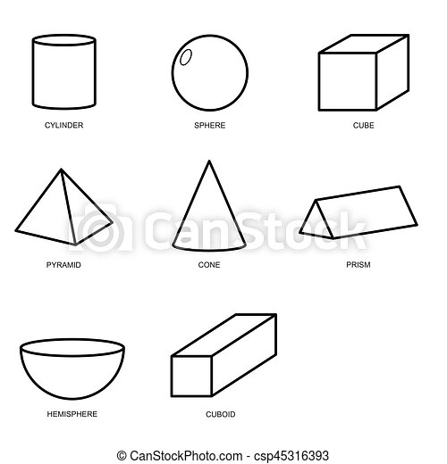 3d shape set isolated on white background vector illustration eps10 rh canstockphoto com 2d and 3d shape clipart 3d shape clipart black and white