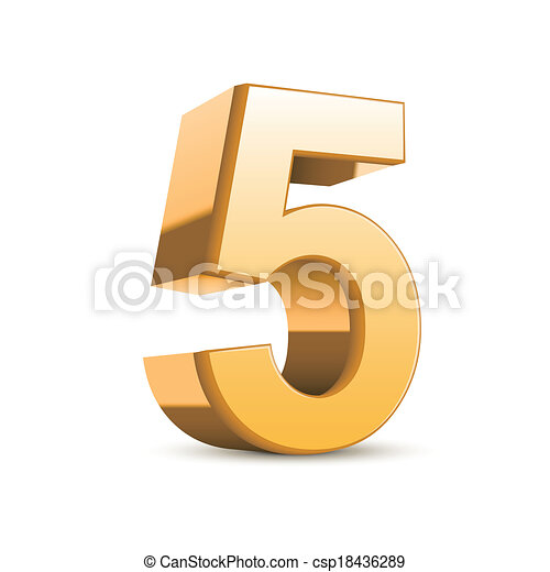 3d shiny golden number 5 - csp18436289
