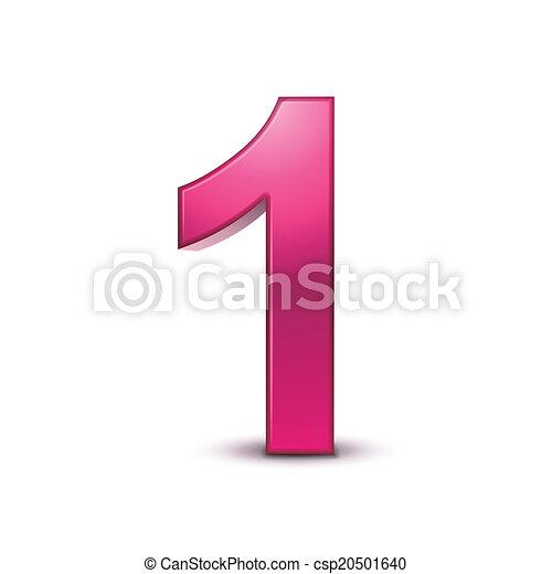 3d shiny pink number 1 - csp20501640
