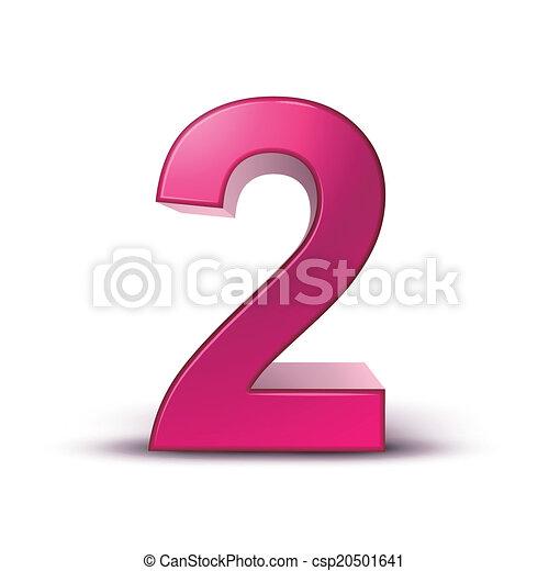 3d shiny pink number 2 - csp20501641