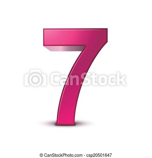 3d shiny pink number 7 - csp20501647