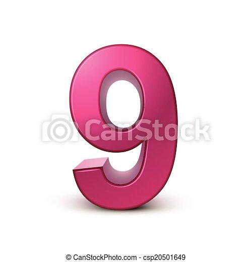 3d shiny pink number 9 - csp20501649