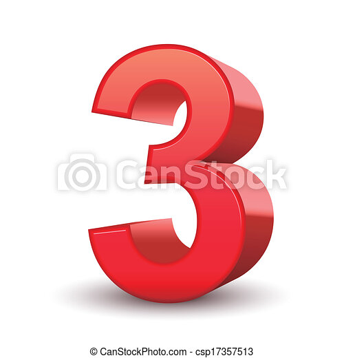 3d shiny red number 3 isolated white background. on