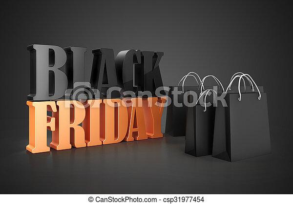 3d shopping bags, sale concept  - csp31977454