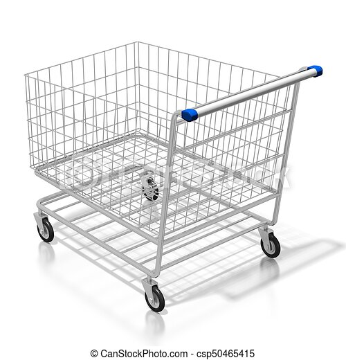 3d shopping cart concept 3d shopping cart on white background