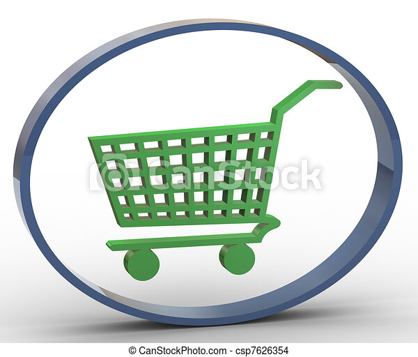 3d shopping cart icon 3d render of shopping cart icon