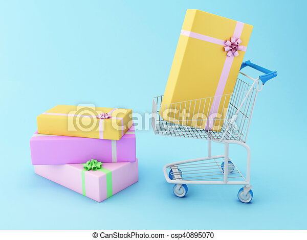3d shopping cart with gift boxes 3d illustration shopping cart