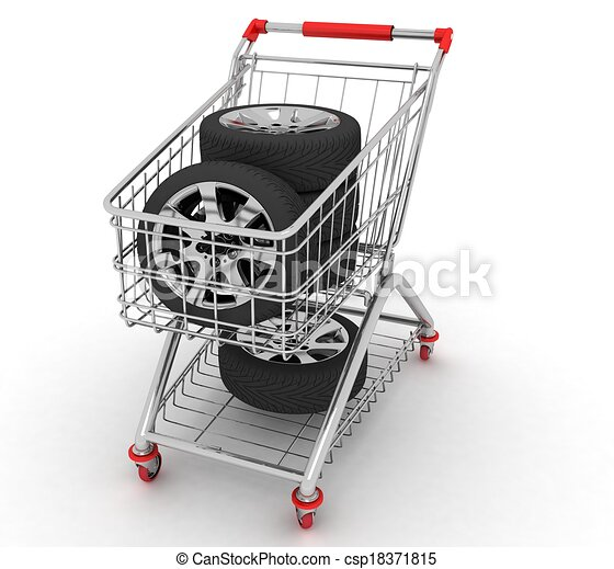 3D Shopping cart with wheels. Conception of purchase of repair parts for a car - csp18371815