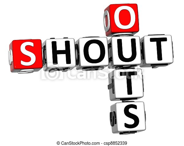 3d shout out crossword cube words on white background rh canstockphoto com shout out clip art images clipart birthday shout out