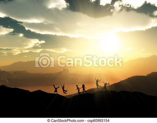 3D silhouettes of children playing in a sunset landscape - csp60993154