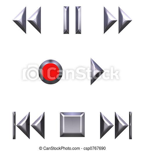 3D Silver Audio Buttons - csp0767690