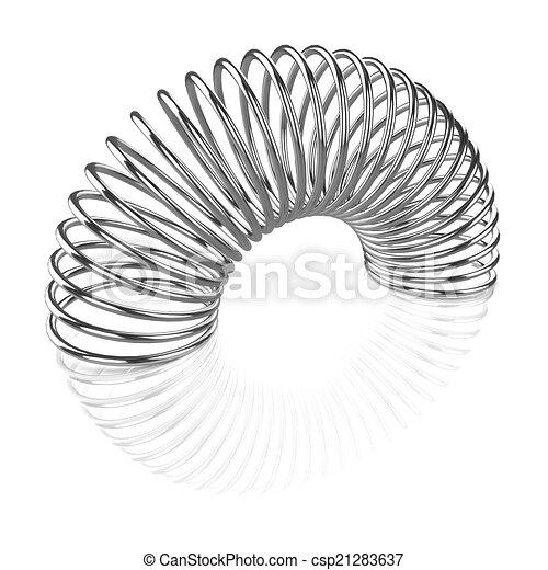 3d Silver coiled spring - csp21283637