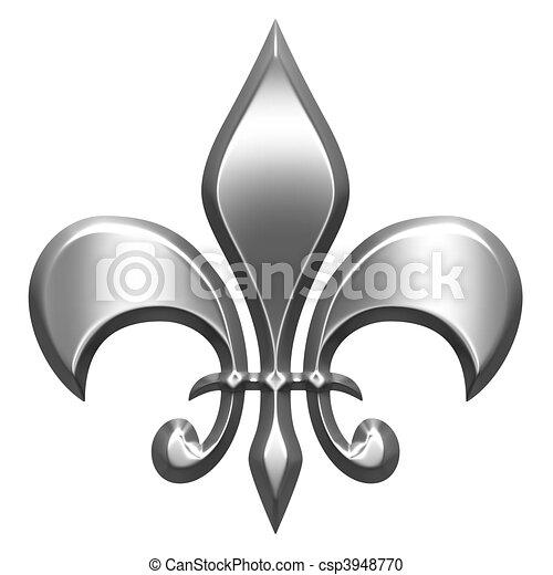 3D Silver Fleur de Lis - csp3948770