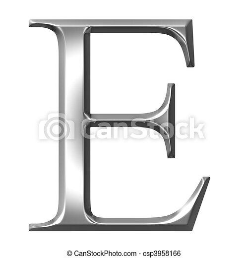 3D Silver Greek Letter Epsilon - csp3958166