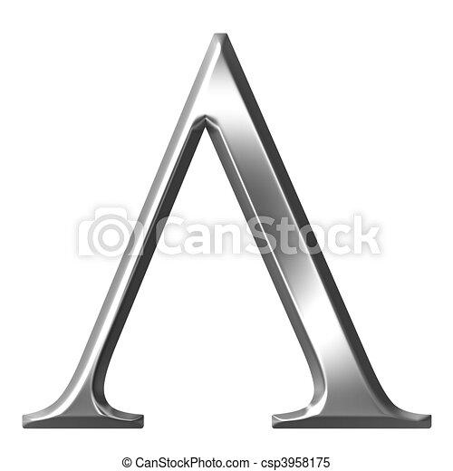 3d Silver Greek Letter Lambda 3d Silver Greek Letter Lambda