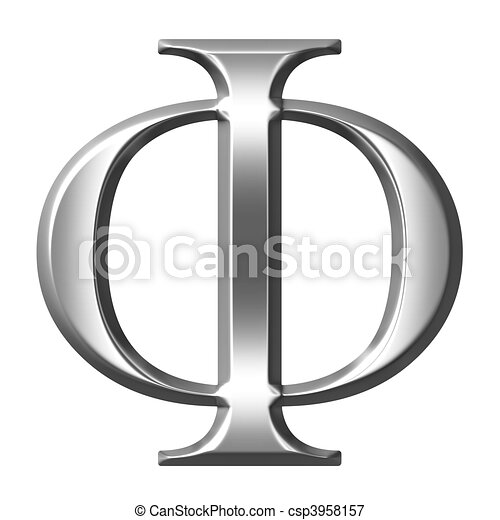 3d silver greek letter phi isolated in white stock illustrations