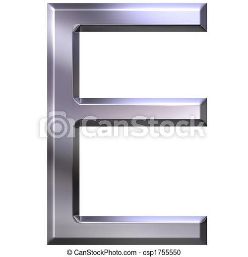 3D Silver Letter E - csp1755550