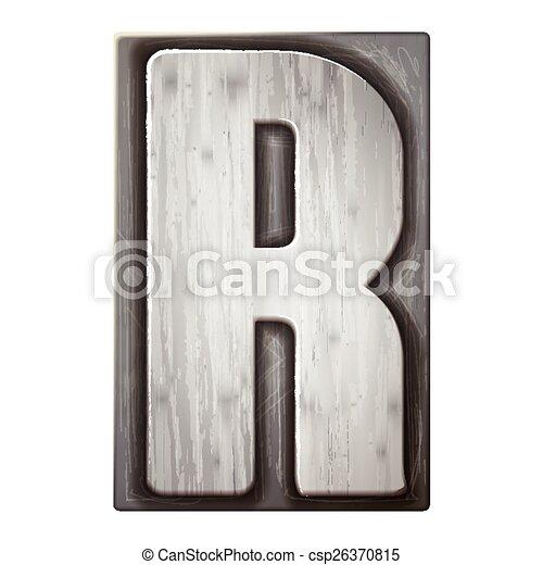 3d silver letterpress alphabet R - csp26370815