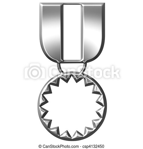 3D Silver Medal of Honour - csp4132450